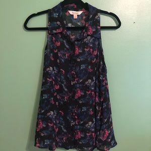 Decree sheer floral sleeveless blouse sz L